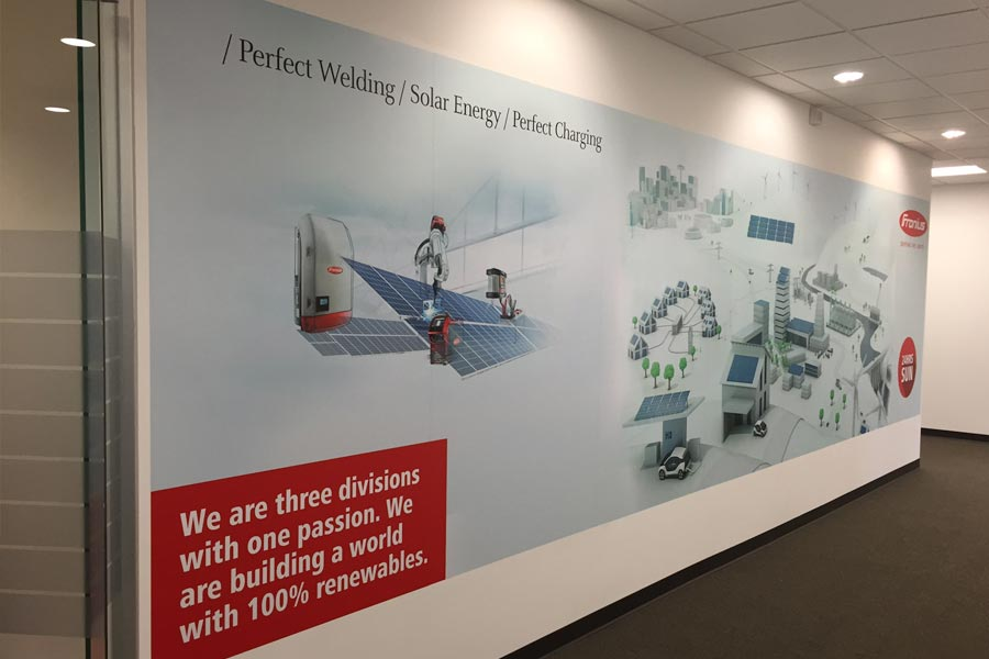 Fronius, Interior Signage, Hall Mural Left Angle