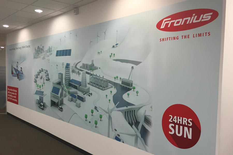 Fronius, Interior Signage, Hall Mural Right Angle